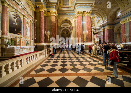 Interior of the St Stephen Basilica in Budapest, Hungary. - Stock Photo
