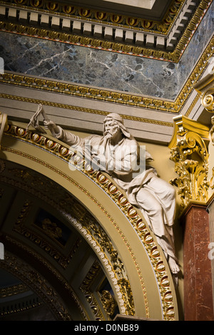 Sculpture on an arch inside the St Stephen Basilica in Budapest, Hungary. - Stock Photo