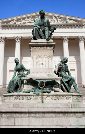 Janos Arany Monument in front of the Hungarian National Museum in Budapest, Hungary. - Stock Photo
