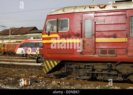 Sofia, Bulgaria; 27th November, 2012. A Soviet-built Class 32 Electric Multiple Unit (EMU) and a Siemens Desiro - Stock Photo