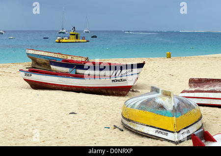 Fishing boats at Santa Maria beach - Sal Island, Cape Verde - Stock Photo