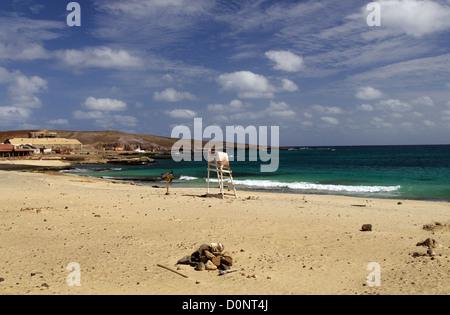 Turtle nesting beach in Pedra de Lume - Island of Sal, Cape Verde - Stock Photo