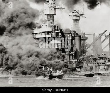 USS West Virginia Burning in Pearl Harbor - Stock Photo