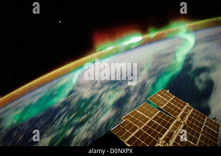 Aurora Australis Over Australia From International Space Station in Orbit - Stock Photo