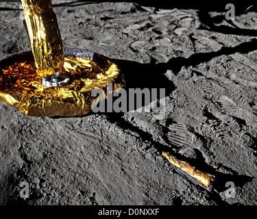 Apollo 11 - Landing Gear of a Lunar Module on the Moon - Stock Photo