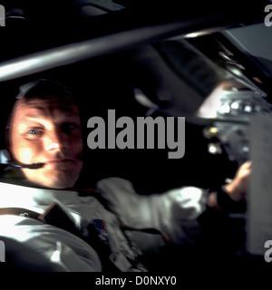 A Confident Neil Armstrong Aboard Apollo 11 - Stock Photo