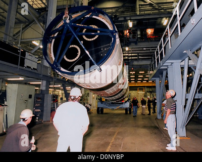 Second Stage of Titan IV Centaur Being Hoisted - Stock Photo