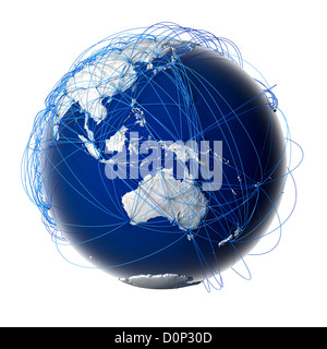 Major global aviation routes on the globe - Stock Photo