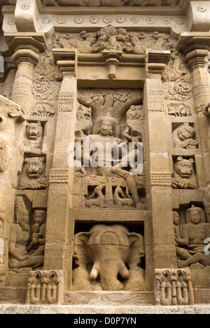 Sculptures in The Kailasanatha temple in Kanchipuram near Chenna,Kanchipuram,Tamil Nadu,India - Stock Photo