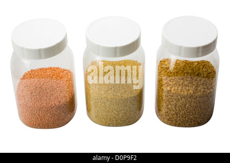 Mung with pigeon pea and lentil pulses in jars - Stock Photo