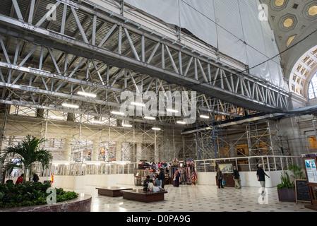 WASHINGTON DC, USA - Repairs and renovations at Washington DC's Union Station. Some of the repairs were necessitated - Stock Photo
