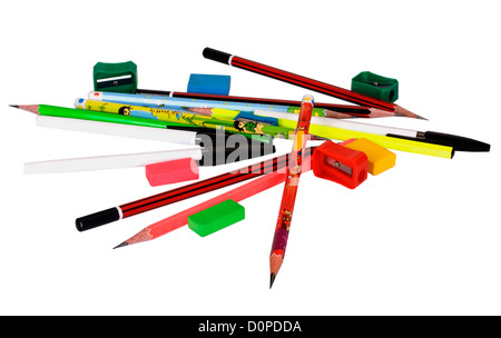 Close-up of assorted stationery items - Stock Photo