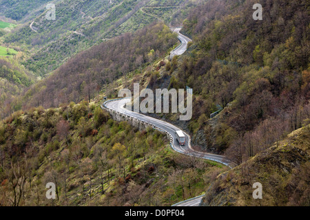 Long Winding Road Through Italian Mountains Landscape. View from above - Stock Photo