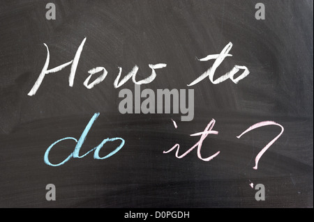 'How to do it?' sentence written on the chalkboard - Stock Photo