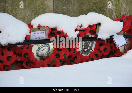 Rememberance Day poppy wreaths at Harrogate at cenotaph - Stock Photo