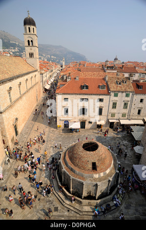 croatia, dubrovnik, old town, onofrio fountain and franciscan monastery - Stock Photo
