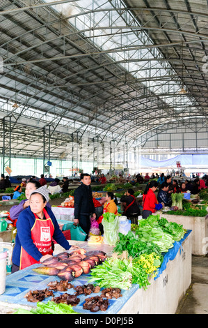 SAM NEUA, Laos - Inside the morning market building in Sam Neua (also spelled Samneua, Xamneua and Xam Neua) in - Stock Photo