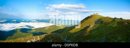 Summer morning panorama on Pip Ivan mountain - Stock Photo