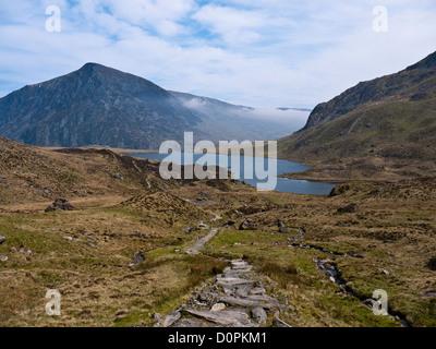 View across Llyn Idwal towards Pen yr Ole Wen. Snowdonia Wales - Stock Photo