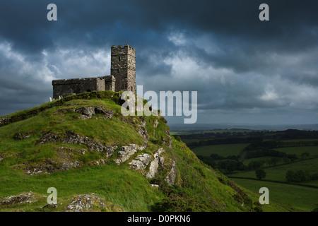 The Church of St. Michael de Rupe, Brentnor, Devon, England, UK - Stock Photo