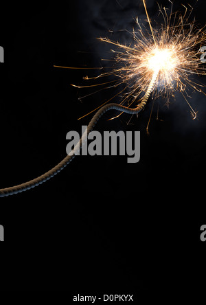 Fuse, spark, bomb, cartoon style, dark, explosive, - Stock Photo