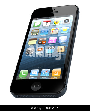 Galati, Romania- September 12, 2012: New Apple iPhone 5 was released for sale by Apple Inc on September 12, 2012. - Stock Photo