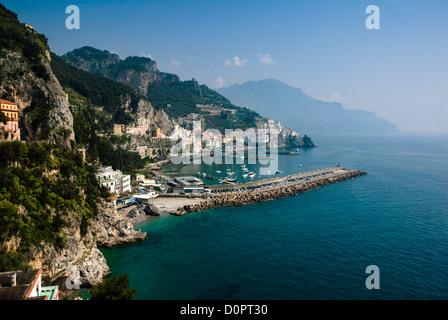 Panoramic view of Amalfi and its coastline from a high angle, Amalfi, Amalfi Coast, Province of Salerno, Sorrento, - Stock Photo