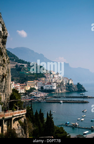Panoramic view of Amalfi and its coastline from a high angle, Amalfi, Amalfi Coast, Province of Salerno, Campania, - Stock Photo