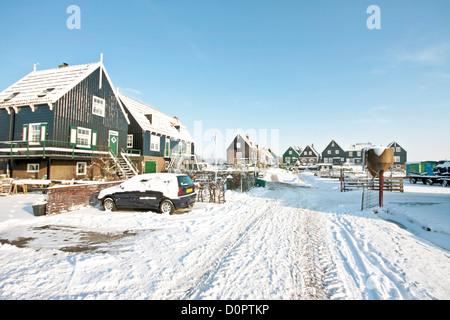 The traditonal dutch village Marken in winter in the Netherlands - Stock Photo