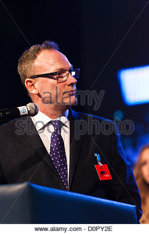 Nov. 29, 2012 - Mr. emerson one of Haradinaj's lawyer speaking to Kosovo albanians audience in Pristina, Kosovo's - Stock Photo