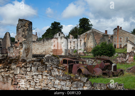 the ruins of the Nazi atrocity of 10th June 1944 at Oradour sur Glane, the Limousin, France - Stock Photo