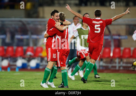 Adam Dudas (L) and Vladimir Koman (R) of Hungary celebrate after defeating Italy in the 2009 FIFA U-20 World Cup - Stock Photo