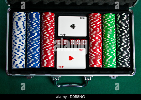 Set of chips and cards for the poker. - Stock Photo