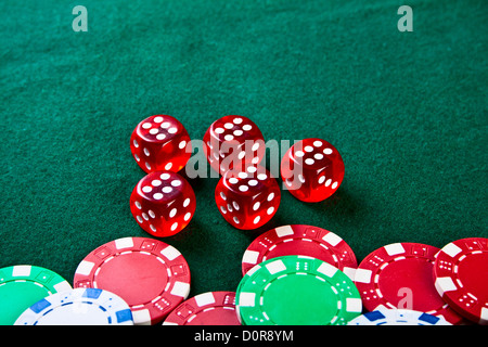 Chips and dices on the table. - Stock Photo