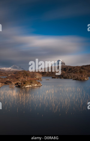 Loch Druim Suardalain with Mts Canisp & Suilven dusted in snow, Sutherland, Scotland - Stock Photo