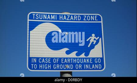 Tsunami Hazard Zone Sign in Santa Barbara, California USA - Stock Photo