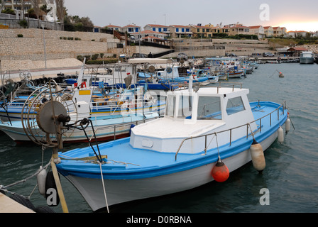 Fishing boats in bay on Cyprus - Stock Photo
