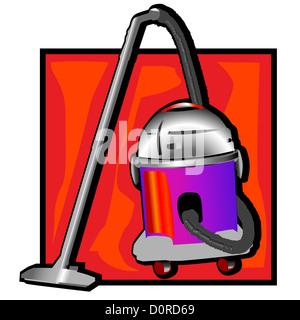 retro vacuum cleaner clip art - Stock Photo