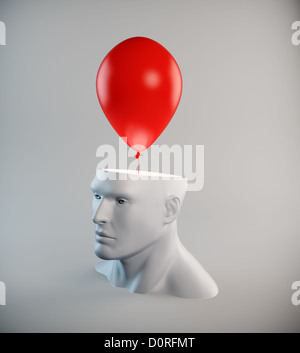 Head with a red balloon - Stock Photo