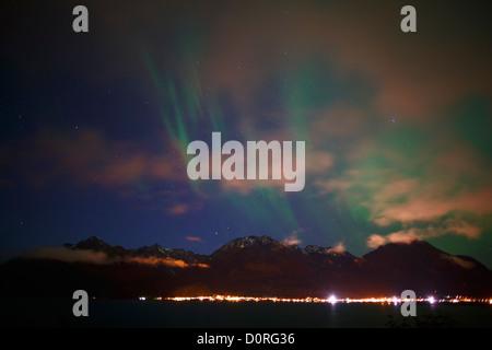 Northern Lights, also known as Aurora borealis, Alaska - Stock Photo
