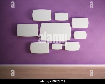 Empty panels on purple wall - Stock Photo