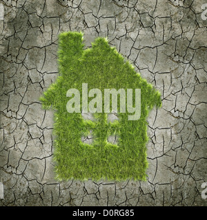 House shaped grass patch - Stock Photo