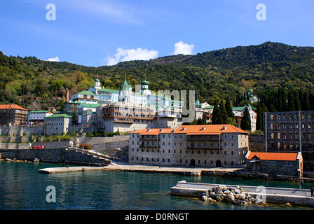 Russian monastery of the Holy Panteleimon at Athos, Greece - Stock Photo