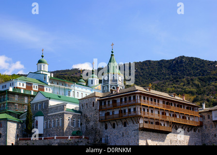 Russian monastery of the Holy Panteleimon at Athos, Greece - Stock Photo