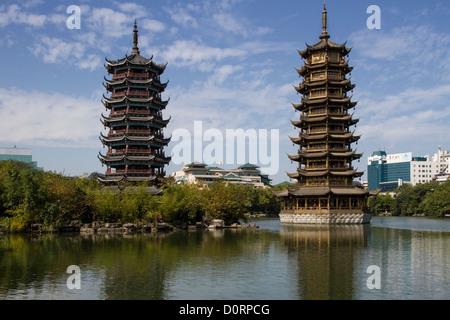 China Guangxi Guilin, Twin Pagodas lake - Stock Photo