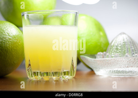 Grapefruit fresh juice with squeezer on table - Stock Photo