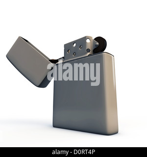 metal lighter isolated on white background - Stock Photo