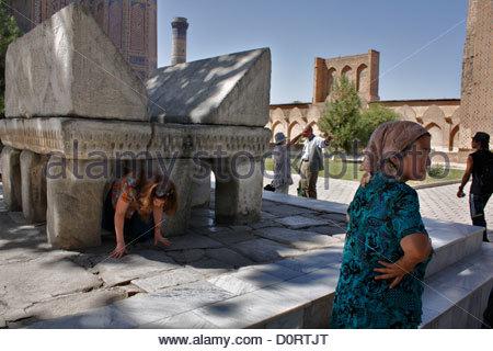 Giant marble lectern in Bibi Khamum mosque courtyard, Samarkand, Uzbekistan - Stock Photo