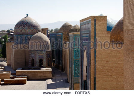 Shah-i-Zinda necropolis, Samarkand, Uzbekistan - Stock Photo