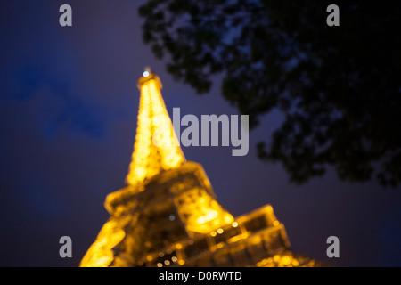 Eiffel Tower - Tour Eiffel at night - Paris. - Stock Photo